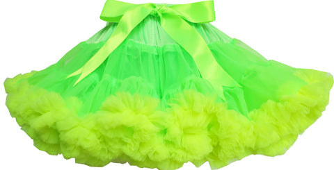 Girls Skirt Tutu Dancing Dress Shinning Green Trimmed Kids Clothing Size 2-10 Years