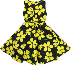 2 Pecs Girls Dress Sun Hat Bow Tie Yellow Summer Beach Size 4-12 Years