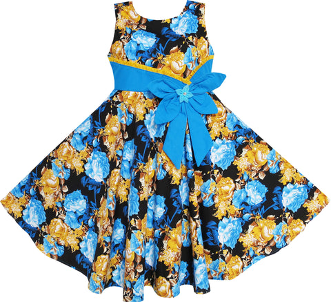 Girls Dress Bohemia Gold Blue Bow Tie Everyday Summer Clothes Size 6-12 Years