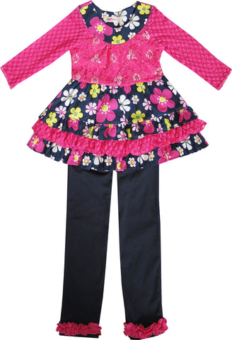 Girls Outfit Set 2 Pecs Shirt Legging Pink Flower Everyday Kids Clothing Size 2-12 Years