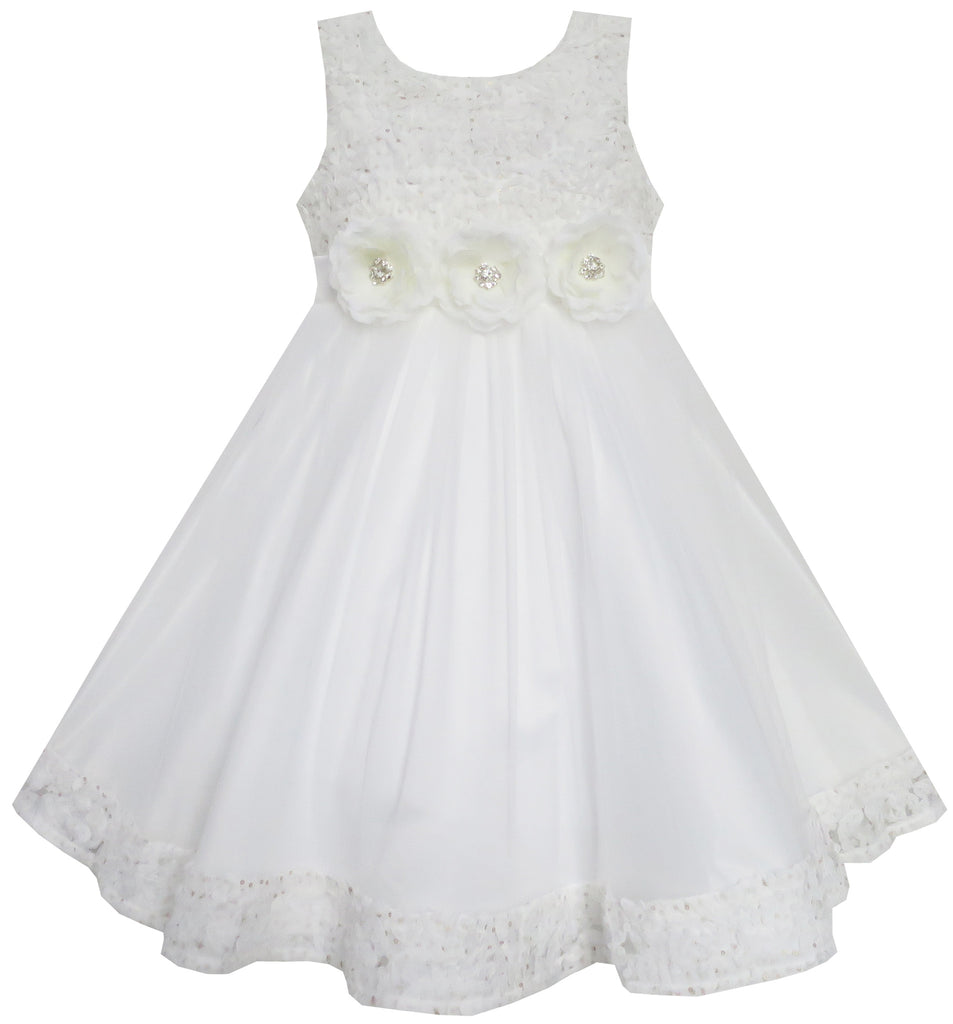 Girls Dress Wedding Pageant Shinning Trimmed Chiffon Party Size 2-10 Years
