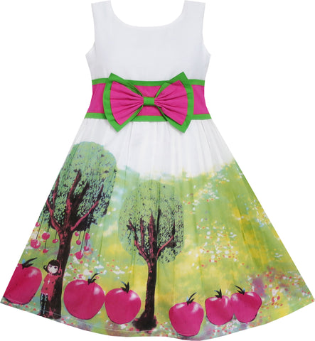 Girls Dress Apple Tree Print Bow Tie Summer Size 6-14 Years