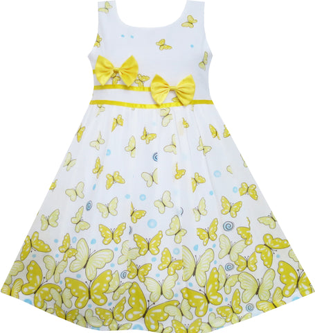 Girls Dress Butterfly Yellow Double Bow Tie Summer Beach Size 4-12 Years