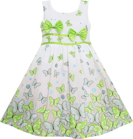 Girls Dress Butterfly Green Double Bow Tie Summer Beach Size 4-12 Years