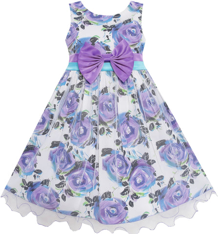 Girls Dress Purple Flower Tulle Wedding Birthday Pageant Dress Size 2-10 Years