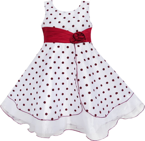 Girls Dress Wine Red Dot Tulle Party Pageant Unique Design Size 4-12 Years