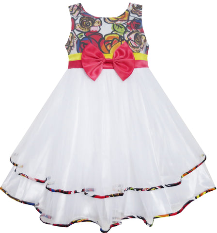 Girls Dress Bohemian Print Tulle Tiered Layer White Wedding Size 2-10 Years