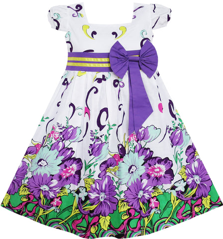Girls Dress Bow Tie Purple Floral Sleeve Princess Party Size 2-10 Years