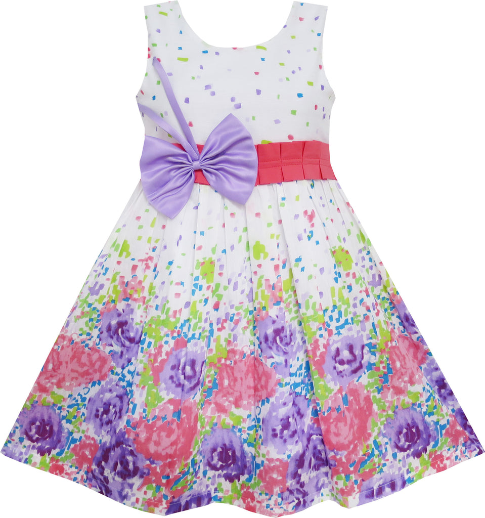 Girls Dress Purple Bow Tie Floral Party Princess Size 4-12 Years
