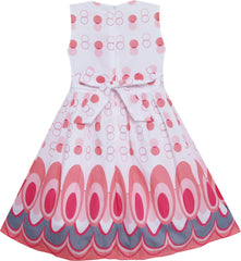 Girls Dress Peacock Tail Dot Salmon Party Birthday Size 4-12 Years