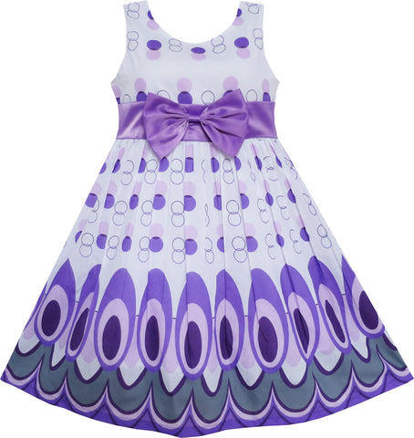 Girls Dress Peacock Tail Dot Purple Party Birthday Size 4-12 Years
