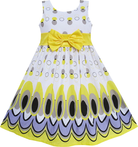 Girls Dress Peacock Tail Dot Yellow Party Birthday Size 4-12 Years
