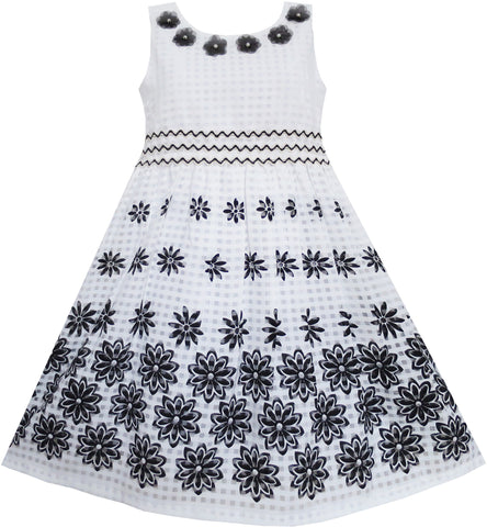 Girls Dress Black White Flower Elegant Princess Summer Size 6-14 Years