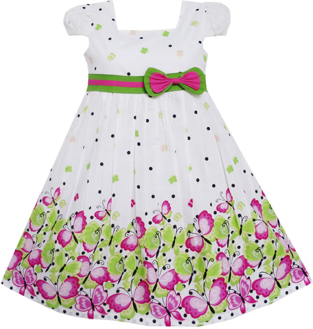 Girls Dress Butterfly Pink Green Dot Short Sleeve Back School Size 2-10 Years