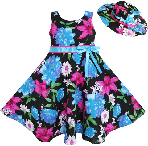 2 Pecs Girls Dress Hat Blue Flower Summer Beach Party Dancing Size 4-12 Years