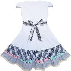 Girls Dress White Cute Colorful Collar Back School Size 6-14 Years