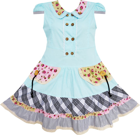Girls Dress Blue Cute Colorful Collar Back School Size 6-14 Years