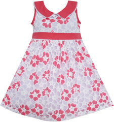 Girls Dress Pink Collar Hollow Out Princess Size 5-10 Years