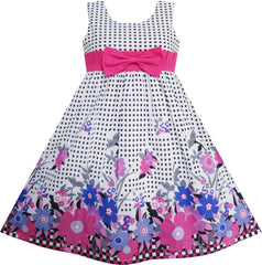 Girls Dress Floral Tartan Party Birthday Size 4-12 Years