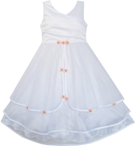 Girls Dress Flower Tulle Wedding Bridesmaid Pageant Size 7-14 Years