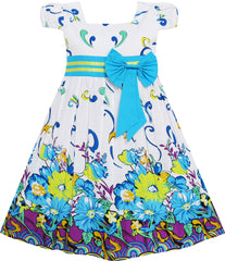 Girls Dress Blue Flower Short Sleeve Party Birthday Size 2-10 Years
