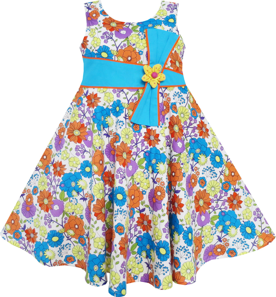 Girls Dress Flower Vintage Blue Birthday Party Size 6-12 Years