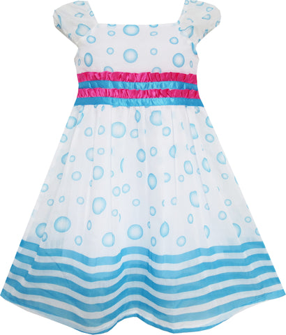 Girls Dress Blue Bubble Short Sleeve Striped Pink Ribbon Size 4-8 Years