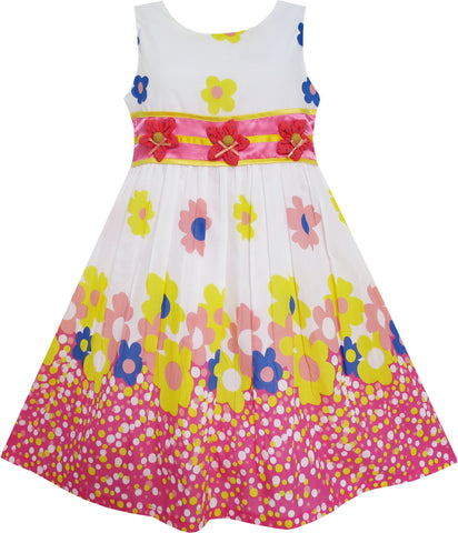 Girls Dress 3 Flower Dancing Colorful Holiday Size 4-10 Years