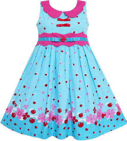 Girls Dress Blue Dot Collar Princess Party Size 6-12 Years