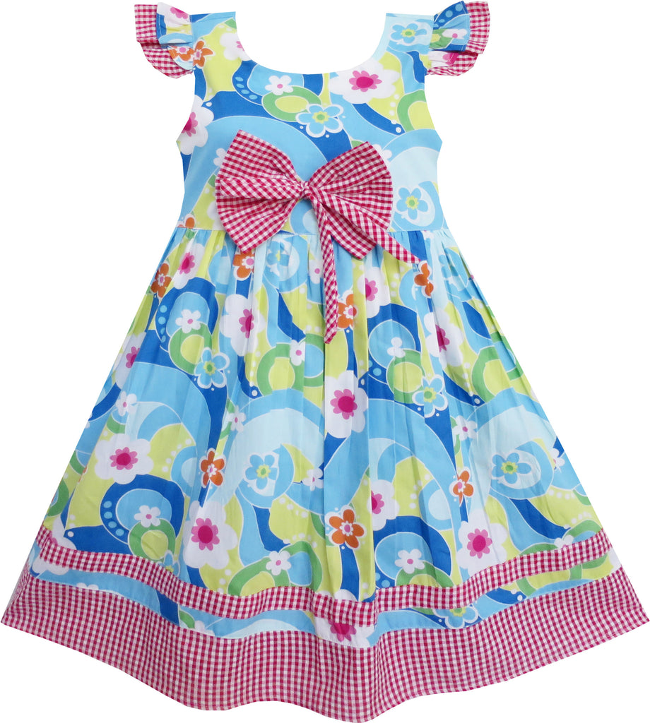 Girls Dress Little Girls Blue Tartan Lined Party Size 4-10 Years