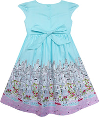 Girls Dress Bow Tie City Building Car Print Blue Size 3-8 Years