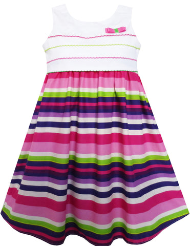 Girls Dress Purple Green White Striped A-Line Girls Dresses Size 3-8 Years
