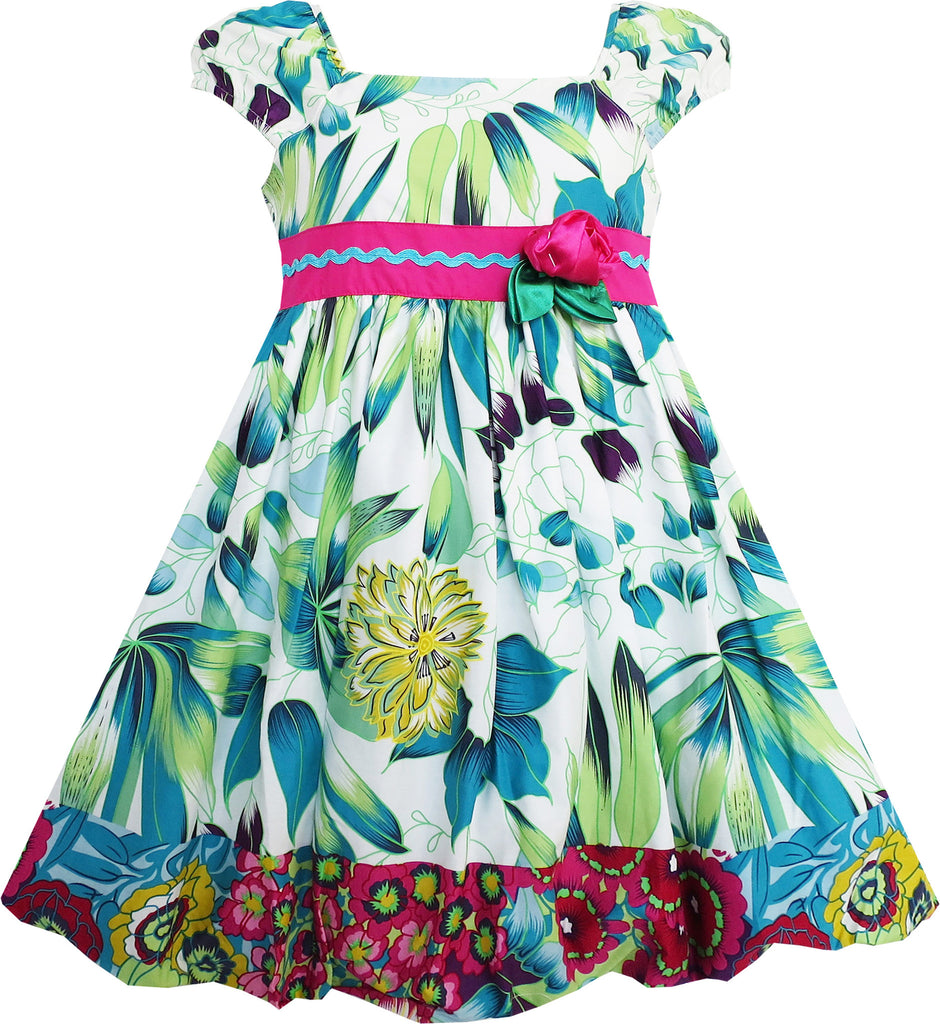 Girls Dress Flower Traditional Chinese Painting Style Green Size 4-8 Years