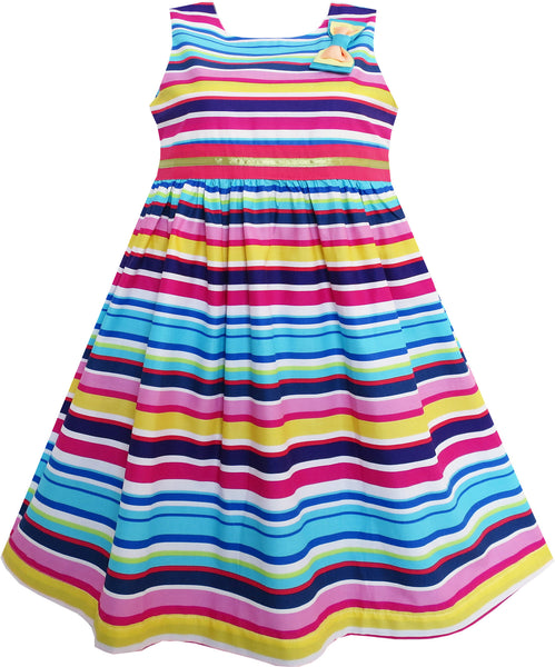 Girls Dress Bright Multi Colored Striped A Line Cute Bow