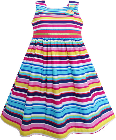 Girls Dress Bright Multi Colored Striped A-Line Cute Bow Tie Size 3-8 Years
