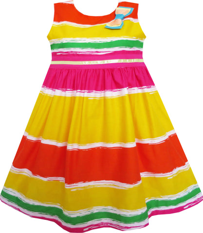 Girls Dress Bow Tie Orange Yellow Striped Tie Dye Style Size 3-8 Years