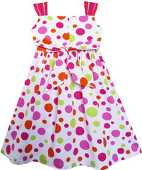 Girls Dress Cute Bow Tie Polka Dot Sleeveless Pink Size 3-8 Years