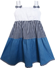 Girls Dress Double Bow Tie Plaid Jean Style Size 2-7 Years