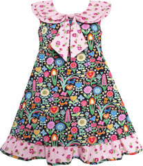Girls Dress Bow Tie Pink Floral Turn-Down Collar And Trim Size 4-10 Years