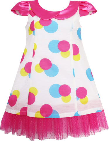 Girls Dress Pink Turn-Down Collar Lace Trim Polka Dot Size 4-10 Years