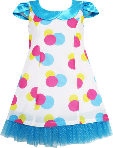 Girls Dress Blue Turn-Down Collar Lace Trim Polka Dot Size 4-10 Years