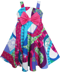 Girls Dress Bow Tie Sleeveless Novelty Paisley Style Print Size 3-8 Years
