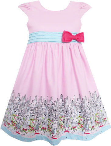 Girls Dress Bow Tie City Building Car Print Pink Size 3-8 Years