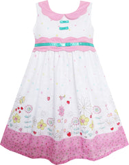 Girls Dress Turn-Down Collar Flower Garden Print Pink Size 3-8 Years
