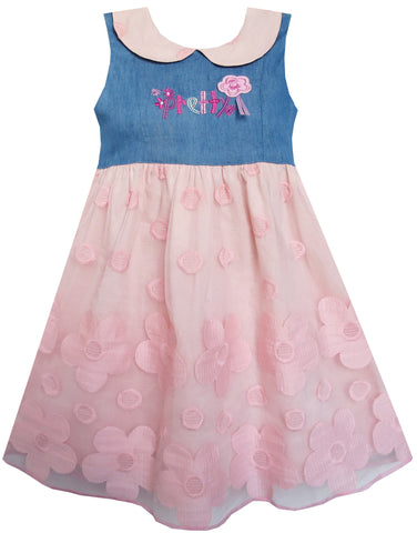 Girls Dress Pretty Print Pink Flower Tulle Lace Hemline Size 3-7 Years