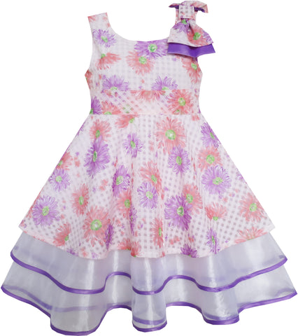 Girls Dress Purple Flower Lace Trim Bow Tie Sleeveless Size 4-8 Years