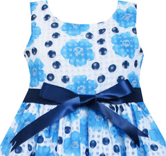 Girls Dress Blue Flower Bow Tie Sleeveless Size 4-8 Years