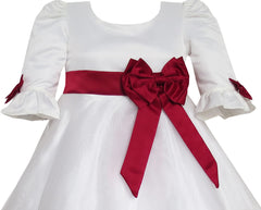 Girls Dress Red Rose Bow Tie Lace Formal Party Long Sleeve Size 4-10 Years
