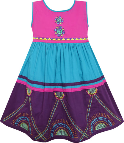 Girls Dress Colour Block Princess Embroidered Flower Purple Size 2-6 Years