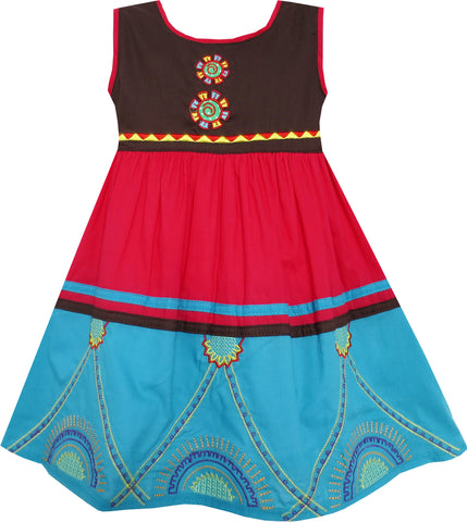 Girls Dress Colour Block Hand Made Embroidered Flower Red Size 2-6 Years